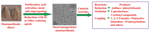 metal nanoparticles supported on Montmorillonite