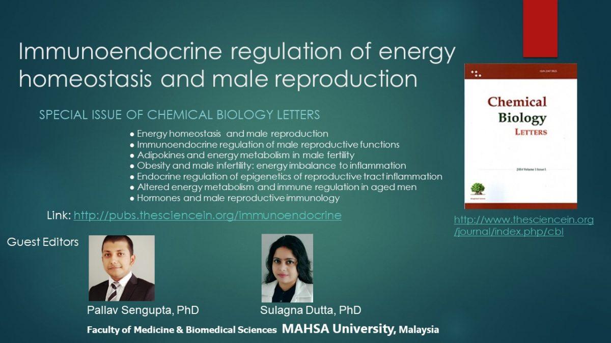 Immunoendocrine regulation of energy homeostasis and male reproduction